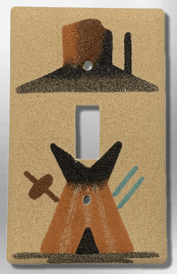 Native Handmade Navajo Sand Painting Teepee with Canyon 1 Standard Single Toggle Switch Plate Cover