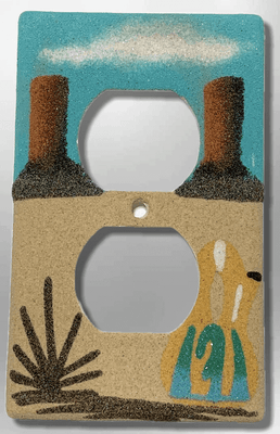 Native Handmade Navajo Sand Painting Canyon Wedding Vase Standard Duplex Outlet Plate Cover
