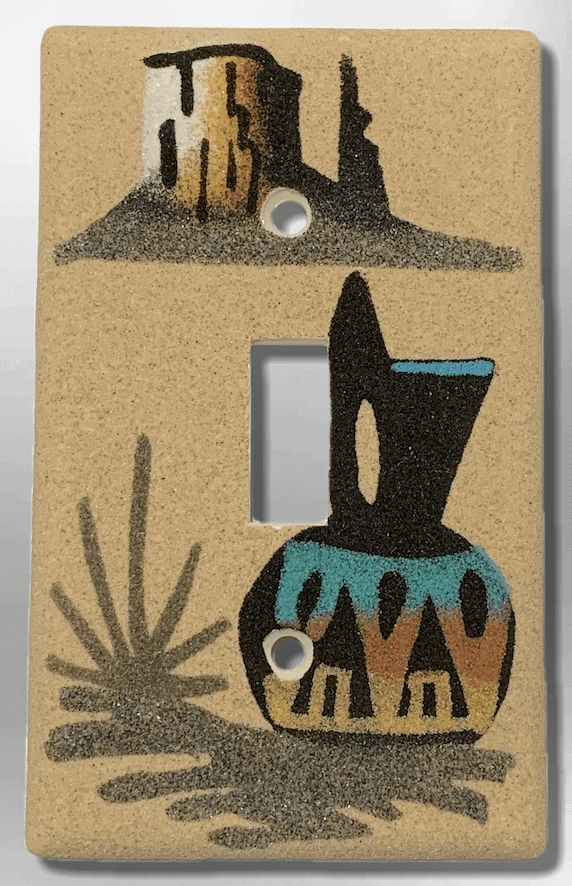 Native Handmade Navajo Sand Painting Black Wedding Vase with Canyon 1 Standard Single Toggle Switch Plate Cover - Kachina City