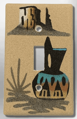 Native Handmade Navajo Sand Painting Black Wedding Vase with Canyon 1 Standard Single Toggle Switch Plate Cover