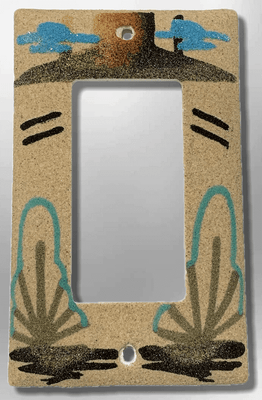Native Navajo Handmade Sand Painting Canyon with Two Cactus 1 Standard Single Rocker Switch Plate Cover