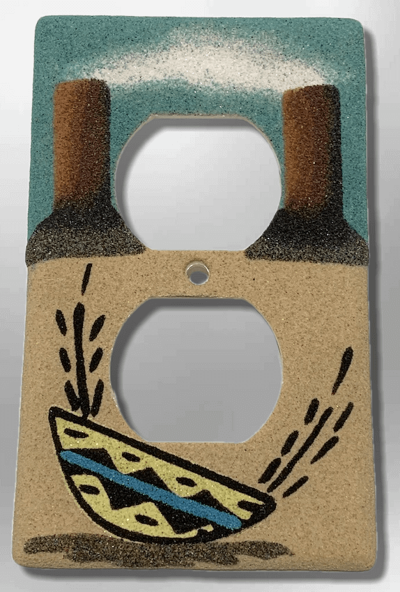 Native Handmade Navajo Sand Painting Canyon Indian Woven Basket Standard Duplex Outlet Plate Cover - Kachina City