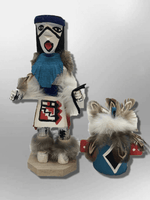 Navajo Handmade Painted Aspen Wood Six Inch Chasing Star with Mask Kachina Doll - Kachina City