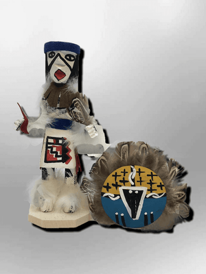 Navajo Handmade Painted Aspen Wood Six Inch Chief with Mask Kachina Doll