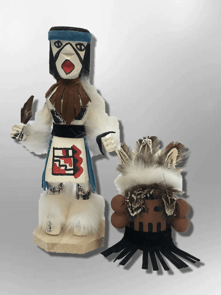 Navajo Handmade Painted Aspen Wood Six Inch Corn Maiden with Mask Kachina Doll - Kachina City