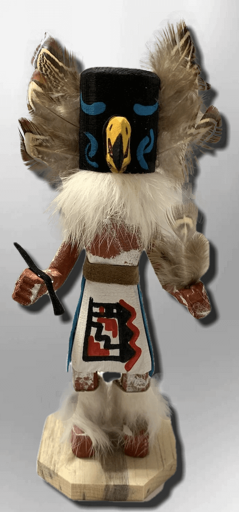 Handmade Painted Aspen Wood Six 6'' Inch Crow Kachina Doll - Kachina City