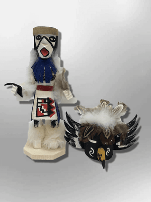 Navajo Handmade Painted Aspen Wood Six Inch Crow with Mask Kachina Doll