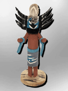 Handmade Painted Aspen Wood 3'' Inch Crow Mother Kachina Doll - Kachina City