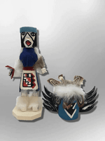 Navajo Handmade Painted Aspen Wood Six Inch Crow Mother with Mask Kachina Doll - Kachina City