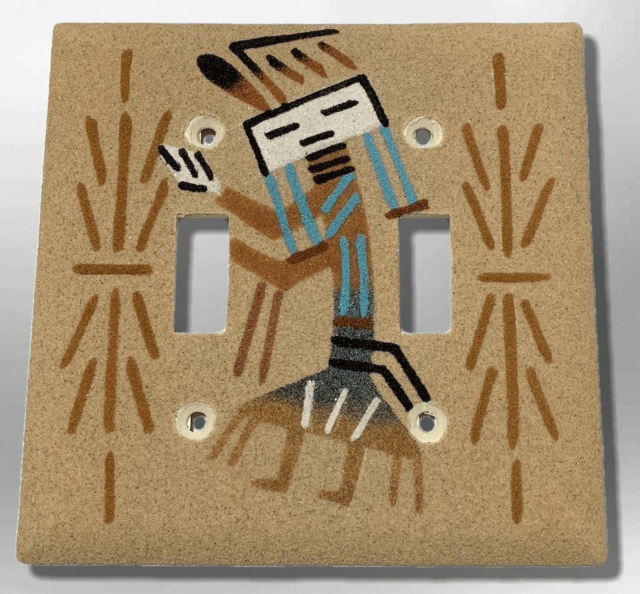 Navajo Handmade Sand Painting Yei Female Dancer Standard Double Toggle Plate Cover - Kachina City