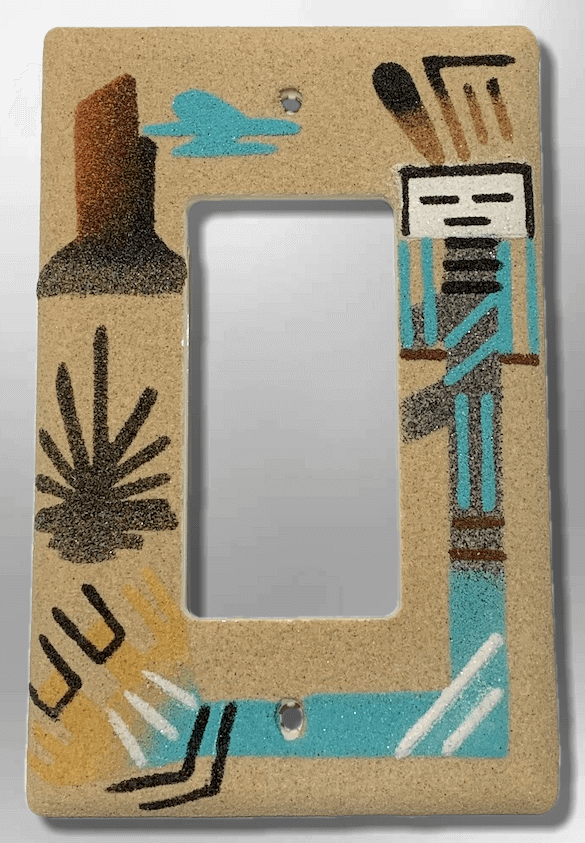Native Navajo Handmade Sand Painting Canyon with Yei Dancer 1 Standard Single Rocker Switch Plate Cover - Kachina City