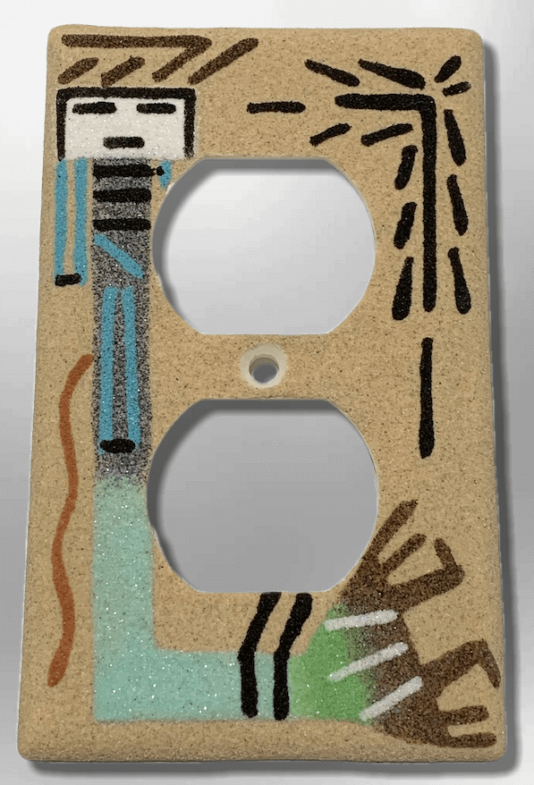 Native Handmade Navajo Sand Painting Yei Female Dancer Standard Duplex Outlet Plate Cover - Kachina City