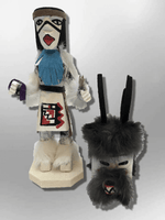 Navajo Handmade Painted Aspen Wood Six Inch Deer with Mask Kachina Doll - Kachina City