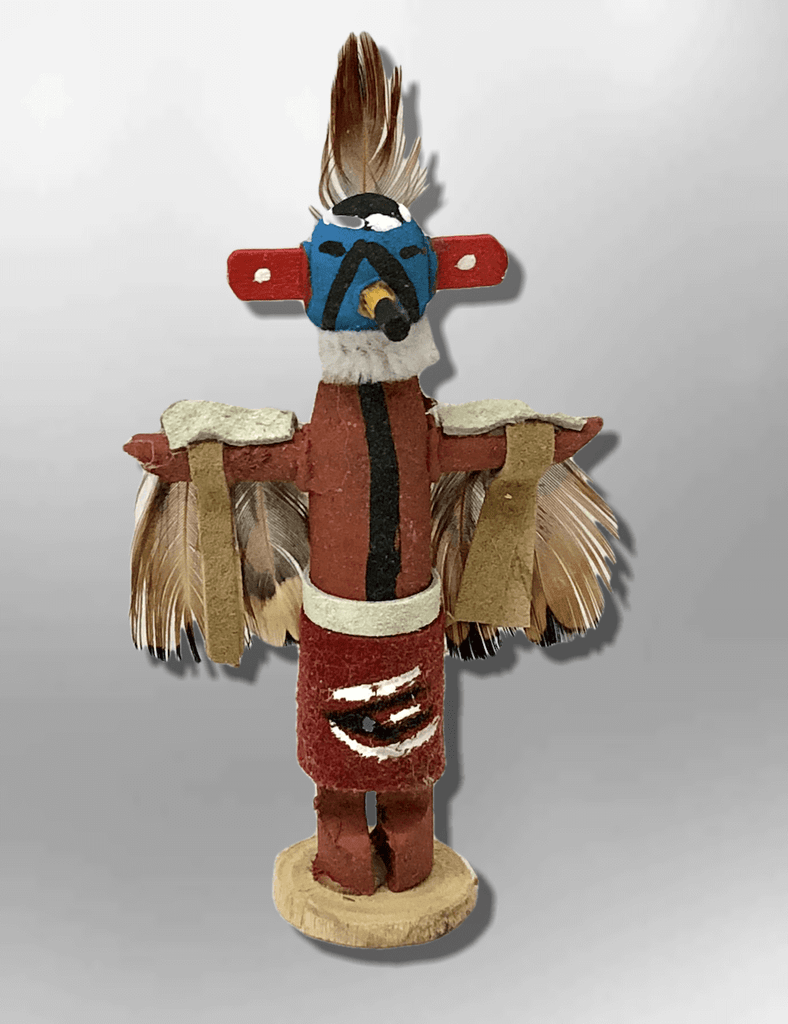 Navajo Handmade Painted Aspen Wood 3'' Inch Eagle Kachina Doll - Kachina City