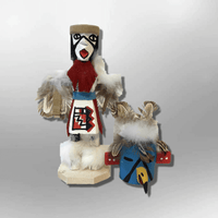Navajo Handmade Painted Aspen Wood Six Inch Eagle with Mask Kachina Doll - Kachina City
