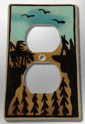 Native Handmade Navajo Sand Painting End of Trail Standard Duplex Outlet Plate Cover