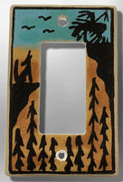 Native Navajo Handmade Sand Painting End of Trail and Wolf 1 Standard Single Rocker Switch Plate Cover - Kachina City