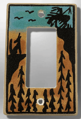 Native Navajo Handmade Sand Painting End of Trail and Wolf 1 Standard Single Rocker Switch Plate Cover