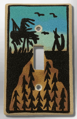Native Handmade Navajo Sand Painting End of the Trail Wolf 1 Standard Single Toggle Switch Plate Cover
