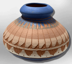 Handmade Indian Native Navajo Clay Etched Small Brown Blue Design Oval Shape Pottery - Kachina City