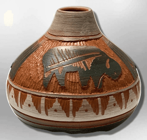 Handmade Indian Native Navajo Clay Etched Small Brown Buffalo Design Narrow Hole Oval Shape Pottery - Kachina City