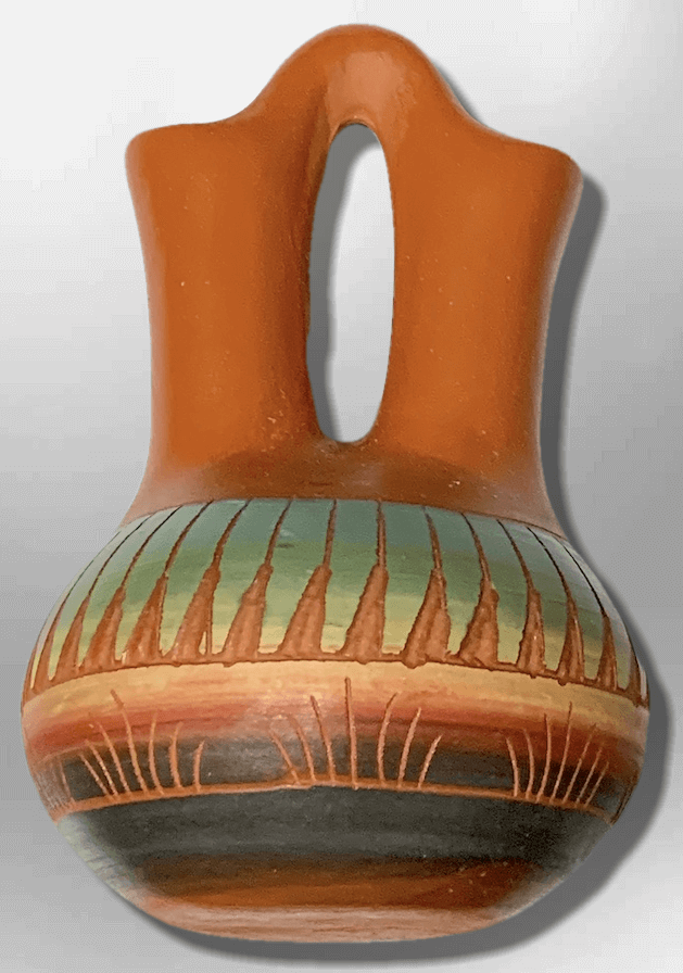 Handmade Indian Native Navajo Clay Etched Small Brown Green Wedding Long Shape Pottery - Kachina City