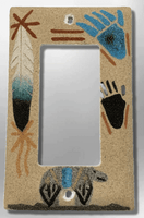 Native Navajo Handmade Sand Painting Feather with Bear Paw Prints 1 Standard Single Rocker Switch Plate Cover - Kachina City