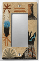 Native Navajo Handmade Sand Painting Canyon Cactus Teepee Feather 1 Standard Single Rocker Switch Plate Cover - Kachina City