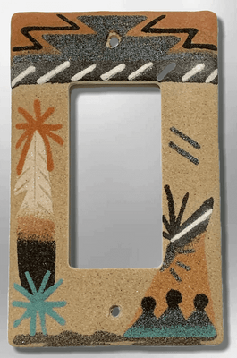 Native Navajo Handmade Sand Painting Teepee with Feather 1 Standard Single Rocker Switch Plate Cover