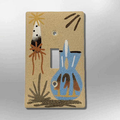 Native Handmade Navajo Sand Painting Feather with Blue Wedding Vase 1 Standard Single Toggle Switch Plate Cover