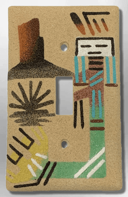 Native Handmade Navajo Sand Painting Female Yei Dancer with Canyon 1 Standard Single Toggle Switch Plate Cover