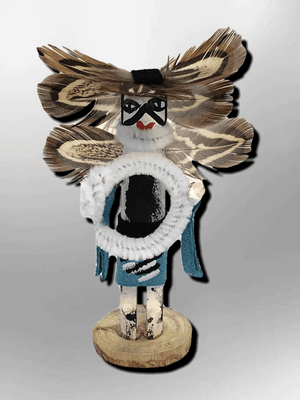 Navajo Handmade Painted Aspen Wood 3'' Inch Hoop Dancer Kachina Doll