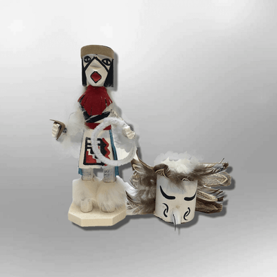 Navajo Handmade Painted Aspen Wood Six Inch Hoop Dancer with Mask Kachina Doll