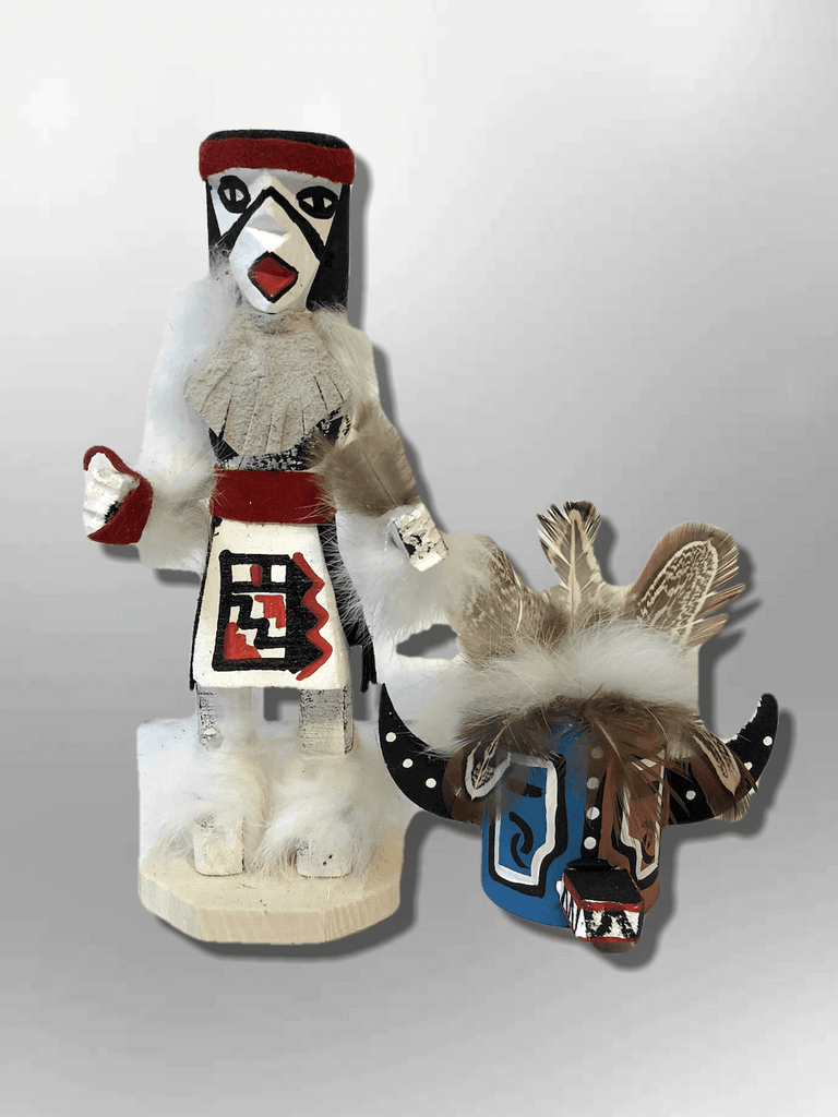 Navajo Handmade Painted Aspen Wood Six Inch Hototo with Mask Kachina Doll - Kachina City