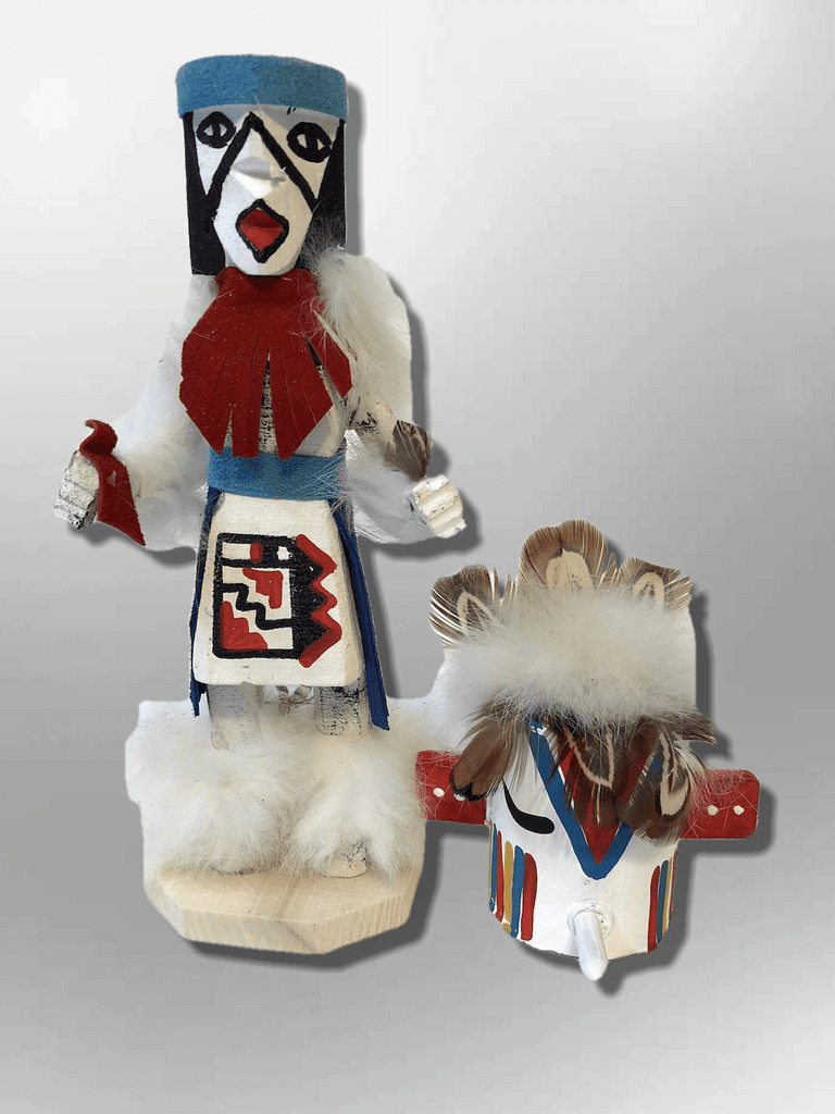 Navajo Handmade Painted Aspen Wood Six Inch Hummingbird with Mask Kachina Doll - Kachina City