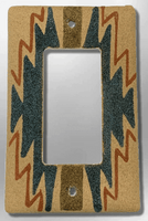 Native Navajo Handmade Sand Painting Indian Design 1 Standard Single Rocker Switch Plate Cover - Kachina City