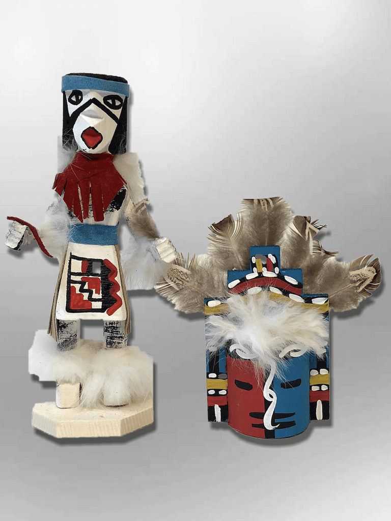 Navajo Handmade Painted Aspen Wood Six Inch Jemez with Mask Kachina Doll - Kachina City