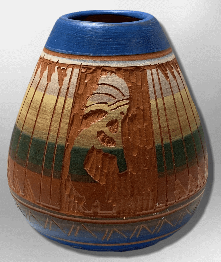 Handmade Indian Native Navajo Clay Etched Small Blue Kokopelli Design Oval Shape Pottery - Kachina City