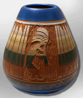Handmade Indian Native Navajo Clay Etched Small Blue Kokopelli Design Oval Shape Pottery