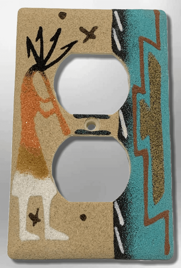 Native Handmade Navajo Sand Painting Kokopelli Indian Design Standard Duplex Outlet Plate Cover - Kachina City