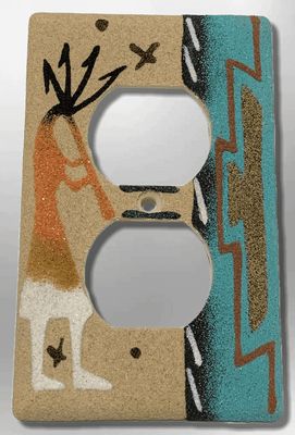 Native Handmade Navajo Sand Painting Kokopelli Indian Design Standard Duplex Outlet Plate Cover