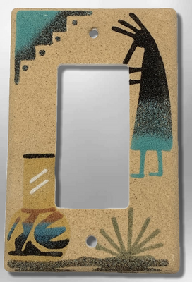 Native Navajo Handmade Sand Painting Kokopelli with Pot 1 Standard Single Rocker Switch Plate Cover