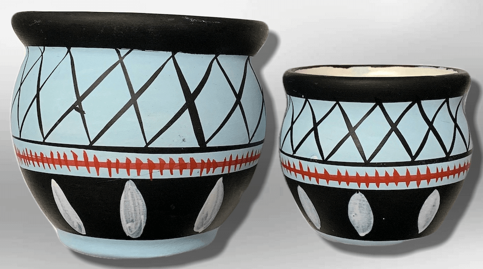 Hand-Painted Oval Shape Light Blue Wide Opening Vase Pottery Set - Kachina City