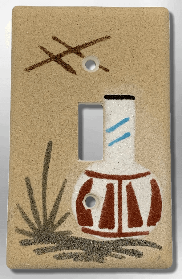 Native Handmade Navajo Sand Painting One White Pot 1 Standard Single Toggle Switch Plate Cover - Kachina City