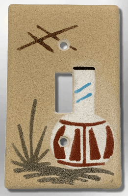 Native Handmade Navajo Sand Painting One White Pot 1 Standard Single Toggle Switch Plate Cover