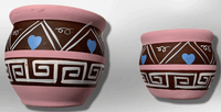 Hand-Painted Oval Shape with Hearts Pink Wide Opening Vase Pottery Set - Kachina City