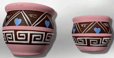 Hand-Painted Oval Shape with Hearts Pink Wide Opening Vase Pottery Set
