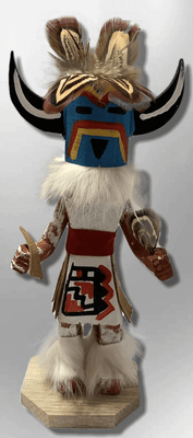Handmade Painted Aspen Wood Six 6'' Inch Medicine Man Kachina Doll
