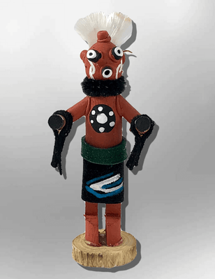 Navajo Handmade Painted Aspen Wood 3'' Inch Mudhead Kachina Doll