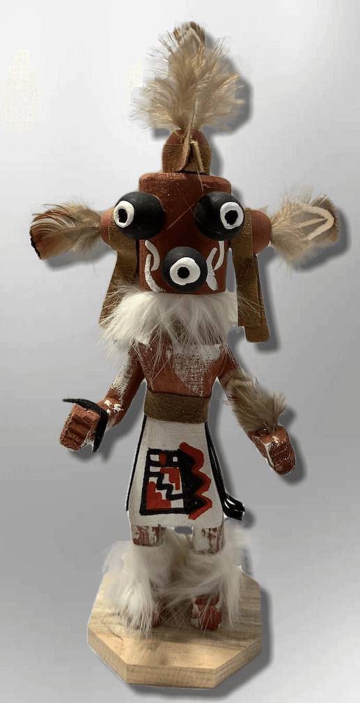 Handmade Painted Aspen Wood Six 6'' Inch Mudhead Kachina Doll - Kachina City